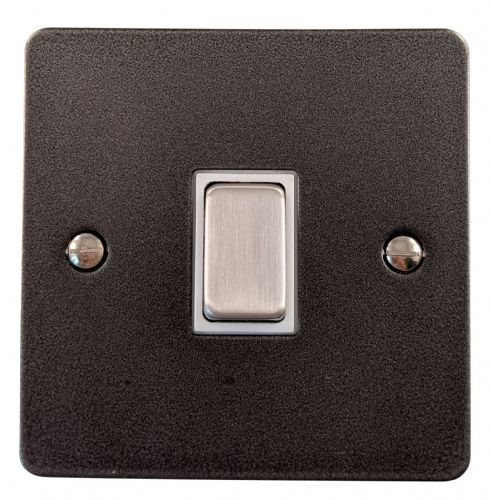 G&H FP201 Flat Plate Pewter 1 Gang 1 or 2 Way Rocker Light Switch